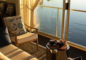Coffee on the Zambezi Queen - Chobe river view
